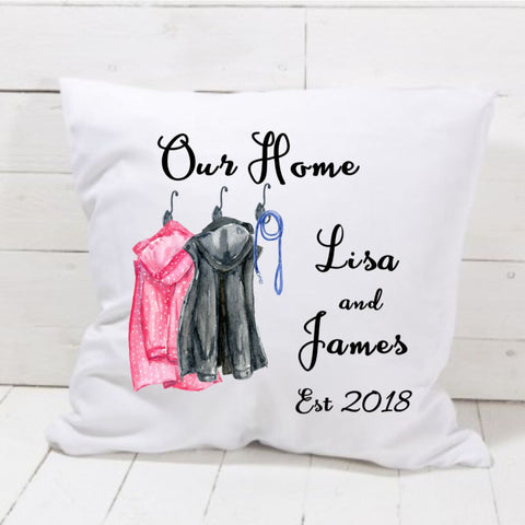 Our New Home Est Date Raincoat Cushion - Mugged Write Off
