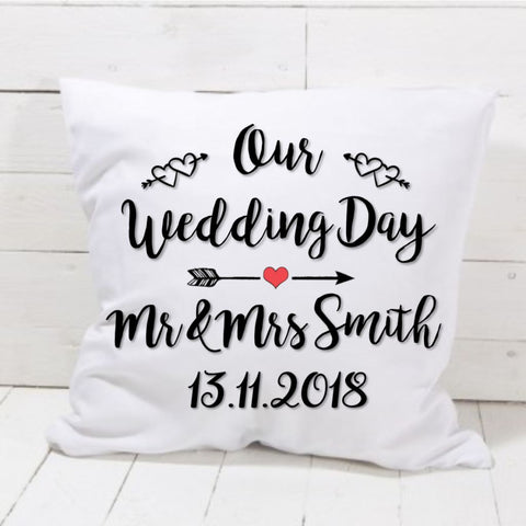 Personalised Wedding Date Cushion - Mugged Write Off