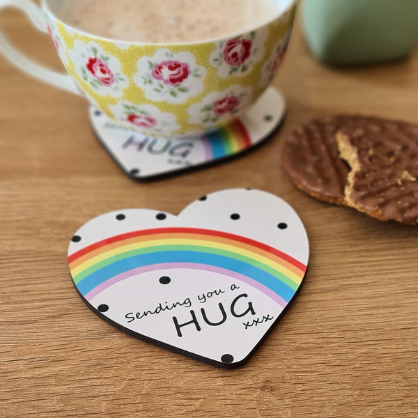 Sending You A Hug Rainbow Heart Coaster - Mugged Write Off