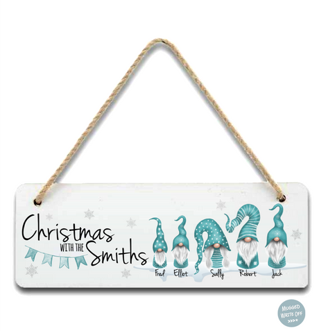 Christmas With The Family Gnomes Personalised Christmas Sign