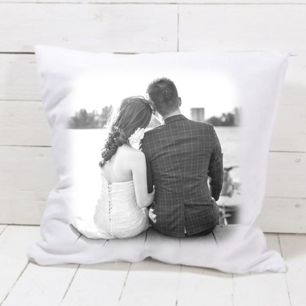 Wedding Day Black & White Photo Cushion - Mugged Write Off