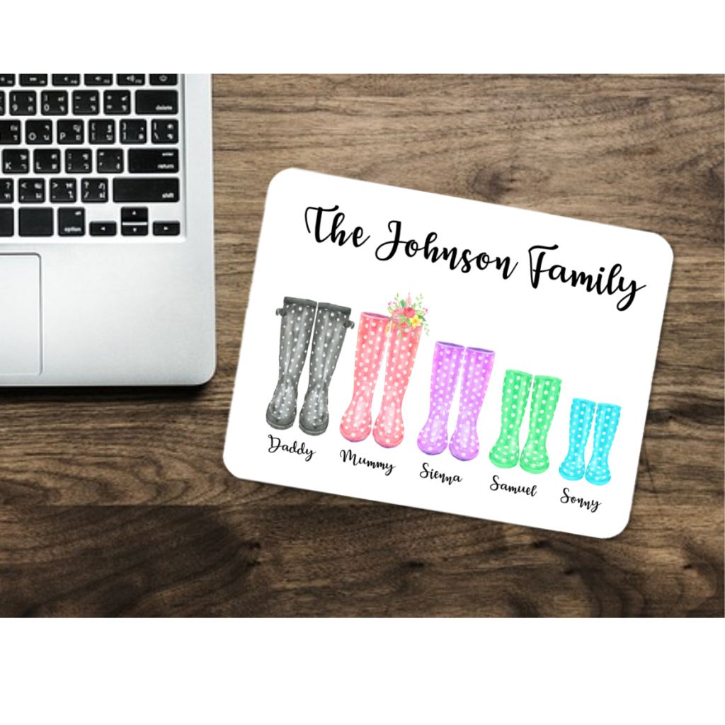Wellington Boot Family Mouse Mat - Mugged Write Off