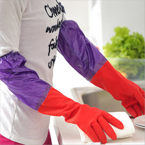 Waterproof Latex Long Sleeves Wool Rubber Gloves-Cleaning Gloves-NonStopDeal-NonStopDeal