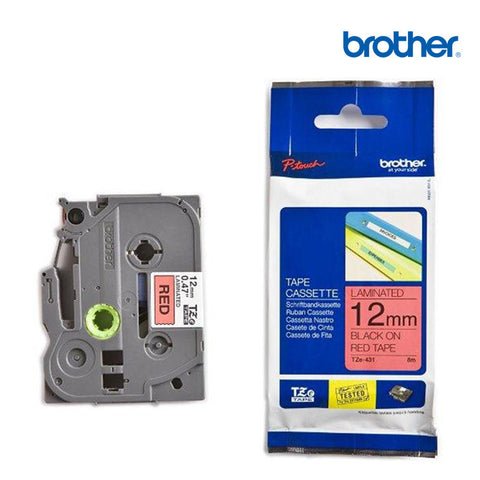 Brother TZe-431 P-Touch Labelling Tape 12mm Black on Red