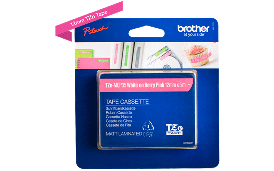 Brother TZe-MQP35 P-Touch Labelling Tape 12mm White on Berry Pink