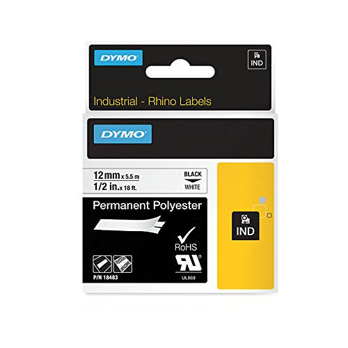 Dymo 18483 Industrial Permanent Polyester Labels, Black on White, 12mm