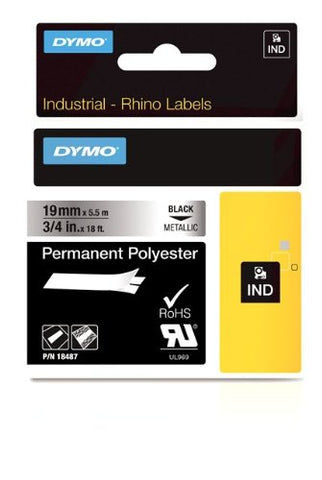 Dymo 18487 Industrial Permanent Labels, Black on Metallic, 19mm