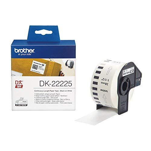 Brother DK-22225 38mm x 30.48m Continuous Length Paper Label Roll (Black On White)