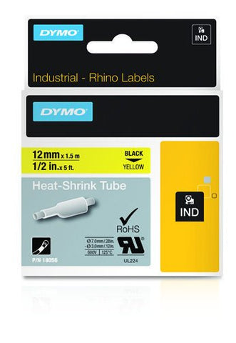 Dymo 18056 Industrial Heat Shrink Tubes, Black on Yellow, 12mm