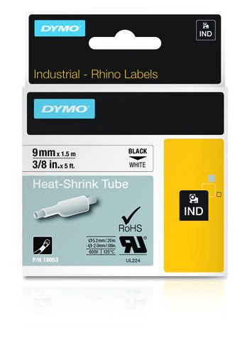 Dymo 18053 Industrial Heat Shrink Tubes, Black on White, 9mm