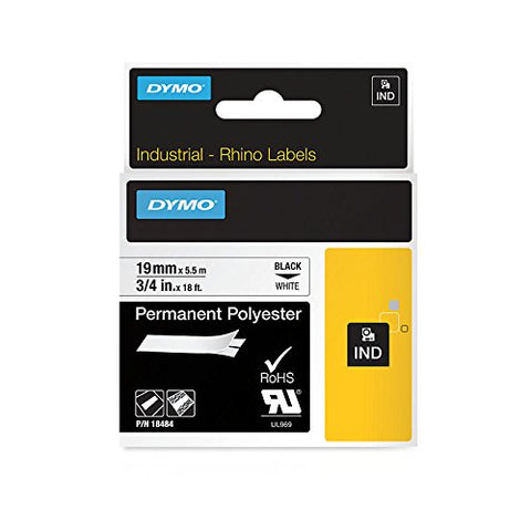 Dymo 18484 Industrial Permanent Polyester Labels, Black on White, 19mm