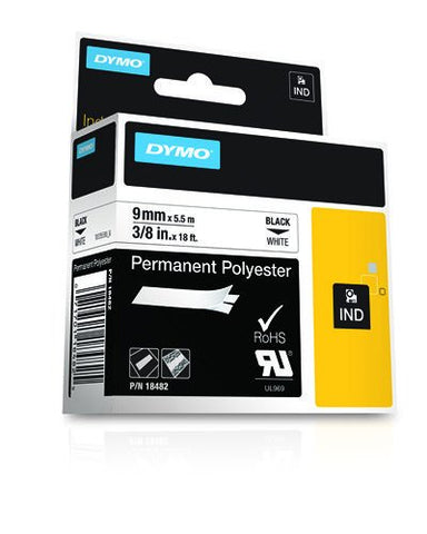 Dymo 18482 Industrial Permanent Labels, Black on White, 9mm