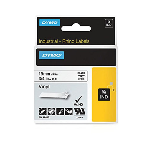Dymo 18445 Industrial Permanent Vinyl Labels, Black on White, 19mm