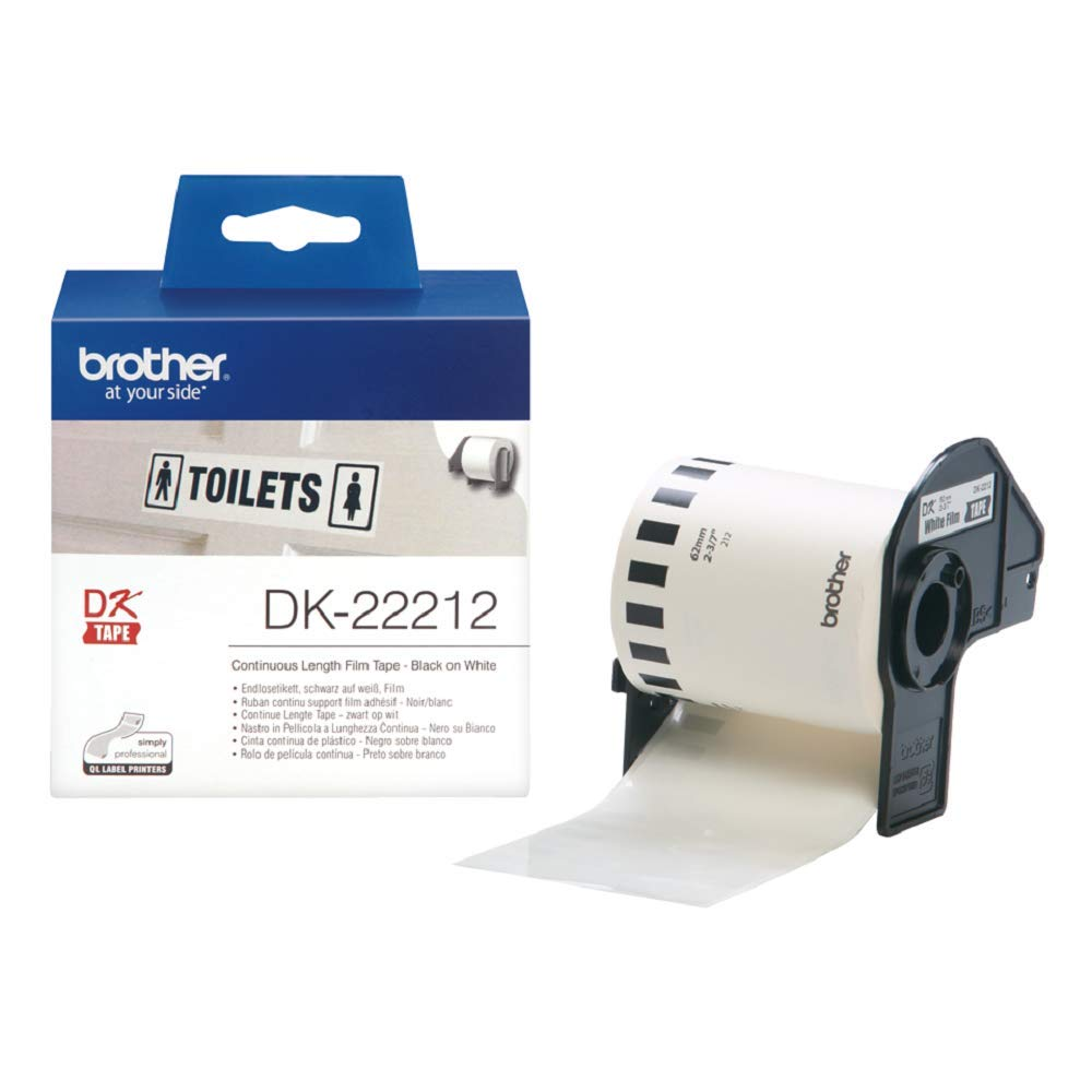 Brother DK-22212 62mm x 15.24m Continuous Length Film Label Roll (Black On White)