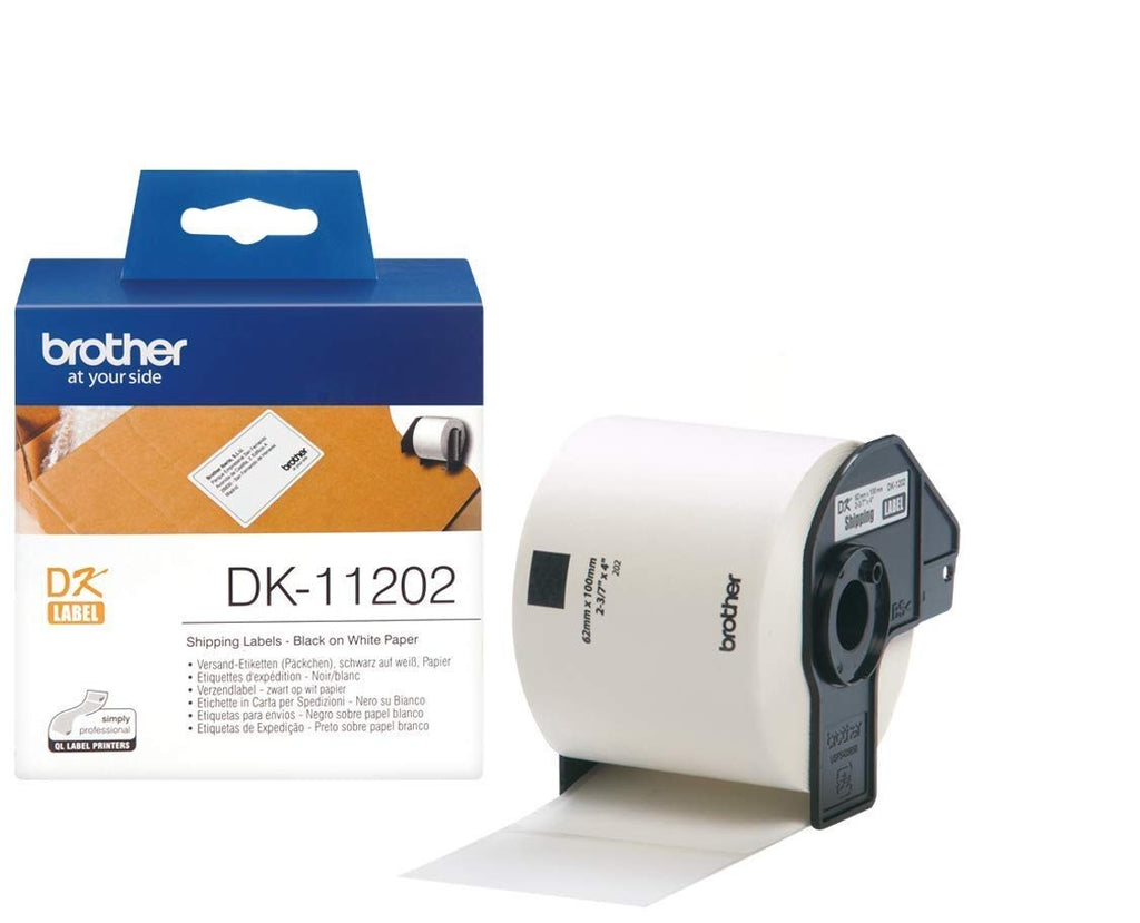 Brother DK-11202 62mm x 100mm 300 Label Roll, Shipping Labels (Black On White)