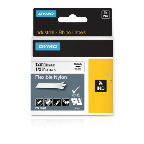 Dymo 18488 Industrial Flexible Nylon Labels, Black on White, 12mm