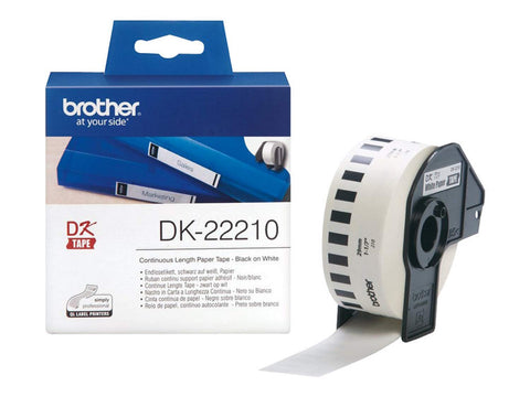 Brother DK-22210 29mm x 30.48m Continuous Length Paper Label Roll (Black On White)