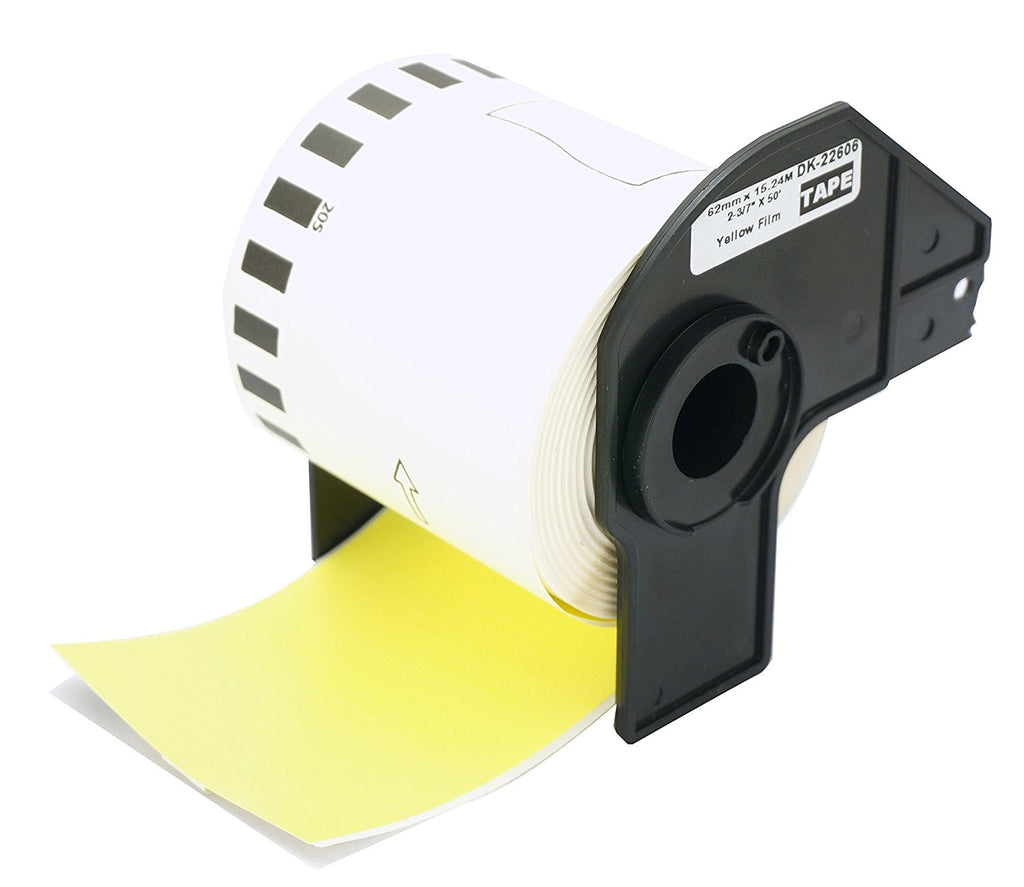 Compatible Brother DK-22606 62mm x 15.24m Continuous Length Film Tape (Black On Yellow)