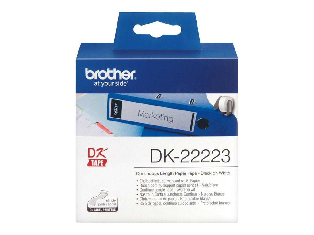 Brother DK-22223 50mm x 30.48m Continuous Length Paper Label Roll (Black On White)