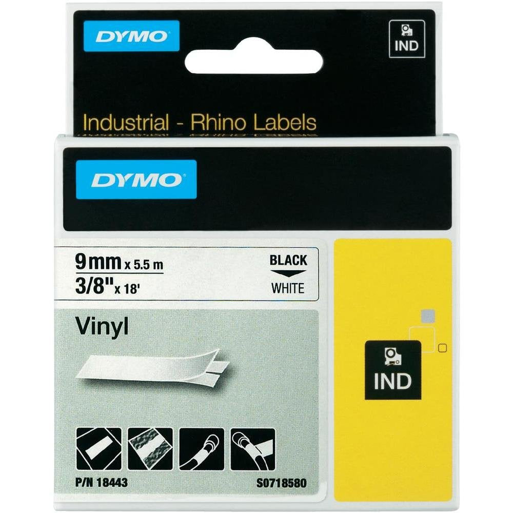 Dymo 18443 Industrial Permanent Labels, Black on White, 9mm