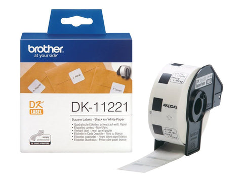 Brother DK-11221 23mm x 23mm 1000 Label Roll, Permanent Adhesive Square Labels (Black On White)