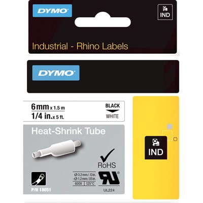Dymo 18051 Industrial Heat Shrink Tubes, Black on White, 6mm