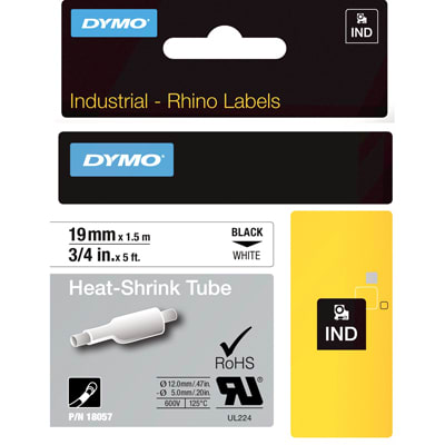 Dymo 18057 Industrial Heat Shrink Tubes, Black on White, 19mm