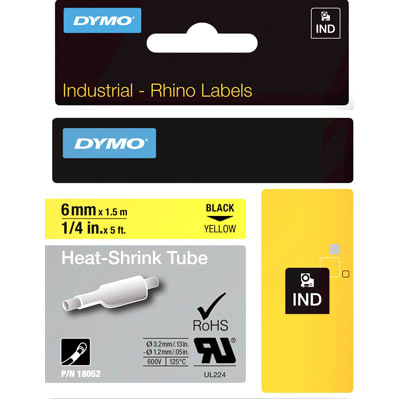 Dymo 18052 Industrial Heat Shrink Tubes, Black on Yellow, 6mm