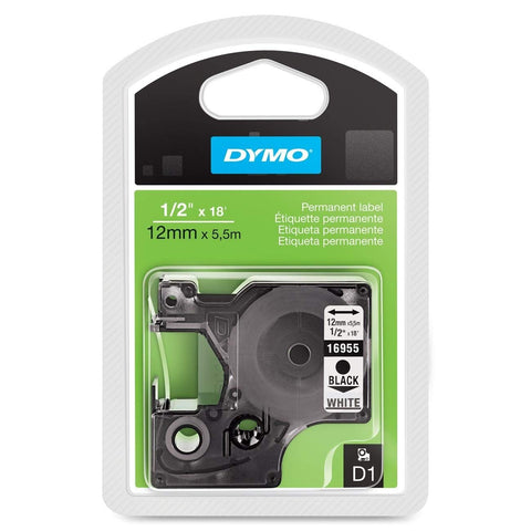 Dymo 16955 Permanent Plastic Tape, Black on White, 12mm