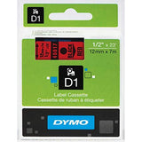Dymo 45017 Permanent Self-Adhesive D1 Polyester Label Tape, Black on Red, 12mm