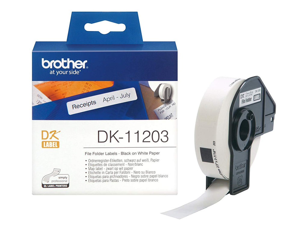Brother DK-11203 17mm x 87mm 300 Label Roll, File Folder Labels (Black On White)