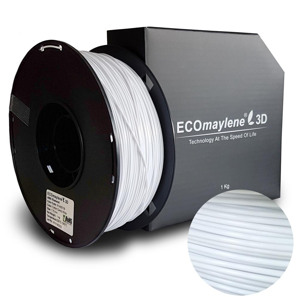 ECOmaylene3D ABS 1.75MM Cotton Candy White 1KG 3D Printer Filament