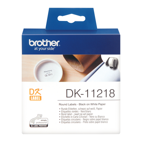 Brother DK-11218 Label Roll – Black on White, 24mm round labels - 1000 labels per roll