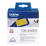 Brother DK-44605 62mm x 30.48m Continuous Paper Label Roll with Removable Adhesive (Black on Yellow)