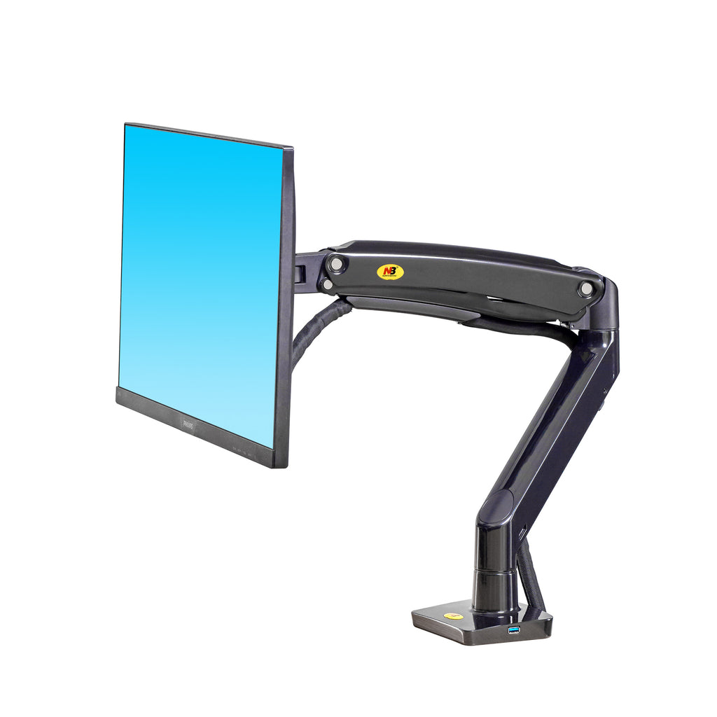"NB F100A 12–35"" Full Motion Gas Spring Single Monitor Arm with USB Port"