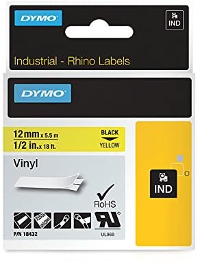 Dymo 18432 Industrial Permanent Vinyl Labels, Black on Yellow, 12mm
