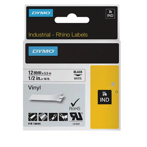 Dymo 18444 Industrial Permanent Vinyl Labels, Black on White, 12mm