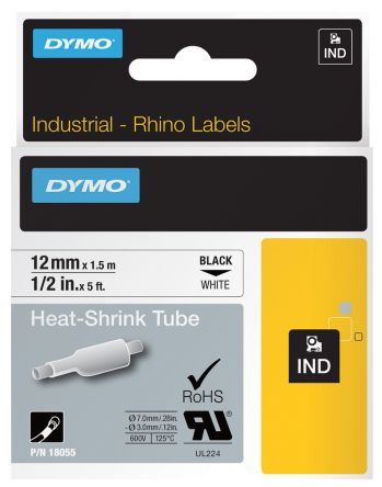 Dymo 18055 Industrial Heat Shrink Tubes, Black on White, 12mm