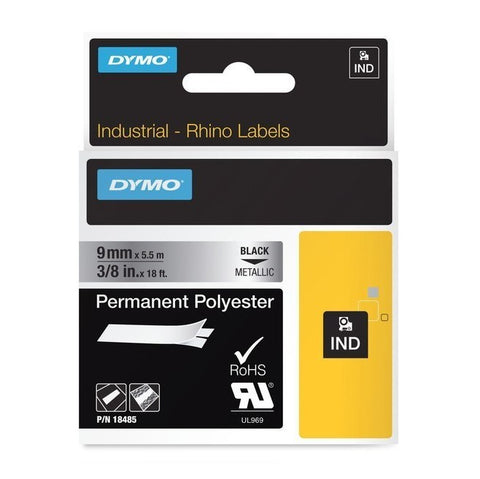 Dymo 18485 Industrial Permanent Labels, Black on Metallic, 9mm