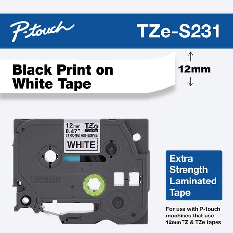 Brother Genuine TZe Strong Adhesive Laminated Label Tape