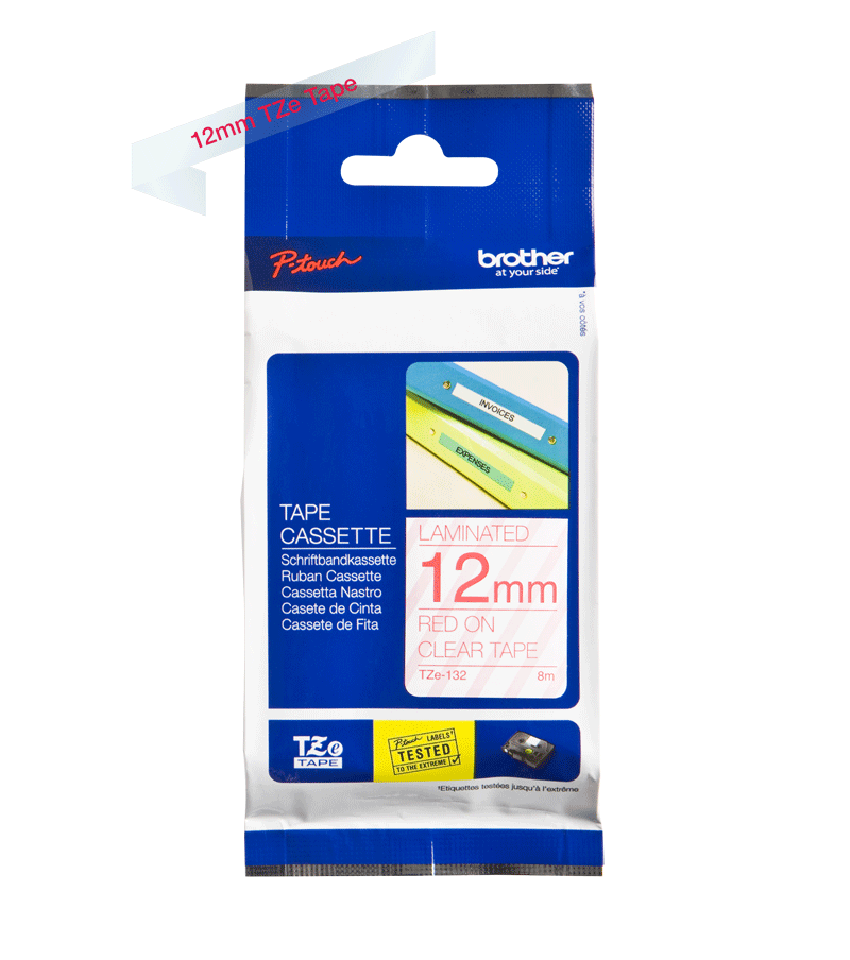 Brother TZe-132 P-Touch Labelling Tape 12mm Red on Clear