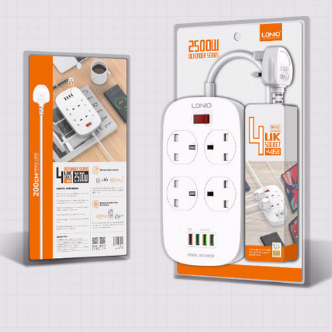 LDNIO SK4463 2-Meter Extension Cord with 4 Socket Outlets and 4 USB (1 port QC3.0) 250V/2500W/10A Extension Charge Plug