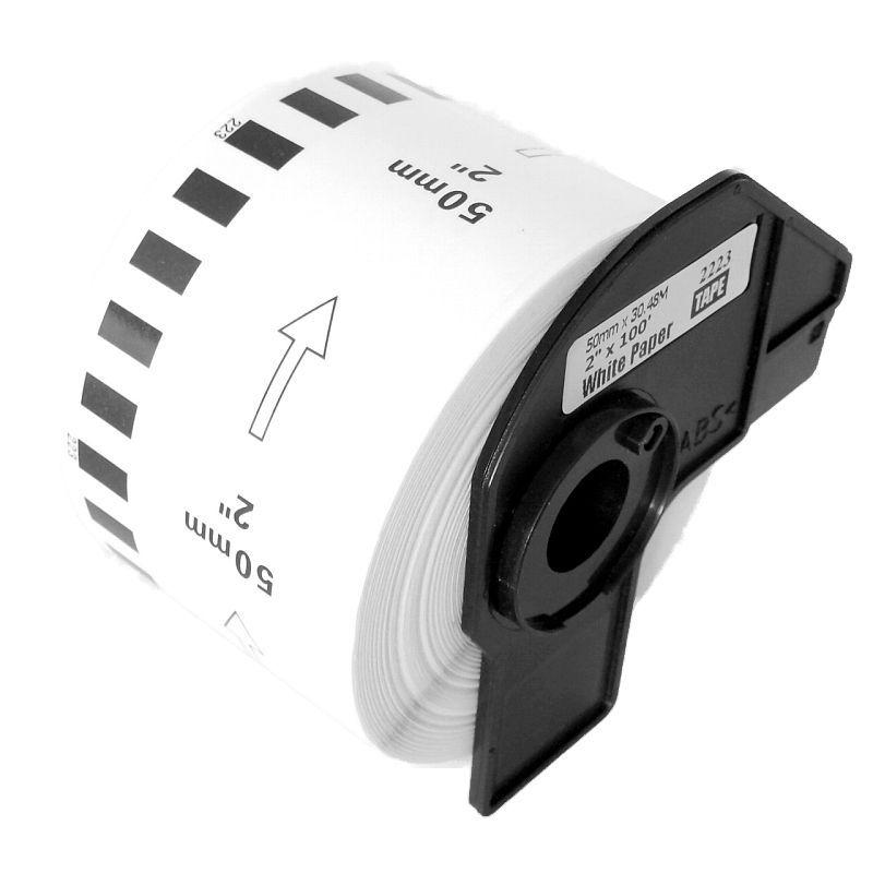 Compatible Brother DK-22223 50mm x 30.48m Continuous Length Paper Roll (Black On White)