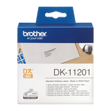 Brother DK-11201 29mm x 90mm 400 Label Roll, Standard Address Labels (Black On White)