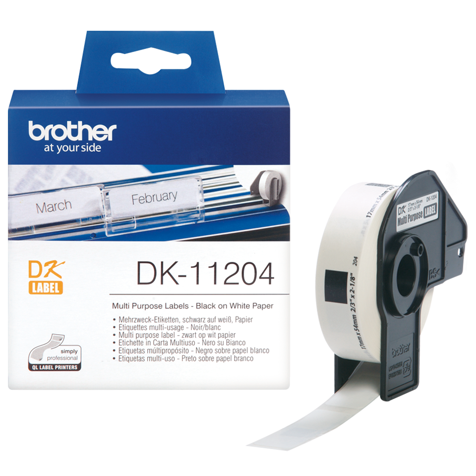 Brother DK-11204 17mm x 54mm 400 Label Roll, Multi Purpose Labels (Black On White)