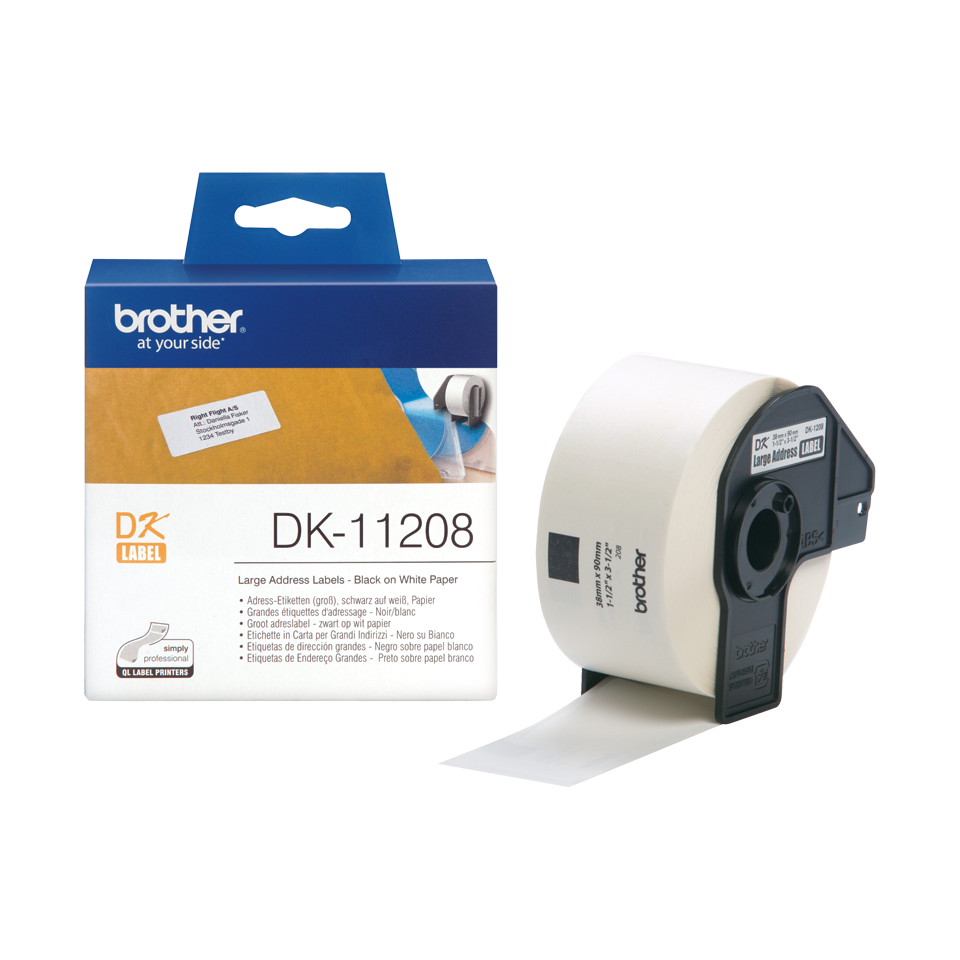 Brother DK-11208 38mm x 90mm 400 Label Roll, Large Address Labels (Black On White)