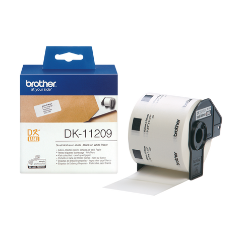 Brother DK-11209 29mm x 62mm 800 Label Roll, Small Address Labels (Black On White)