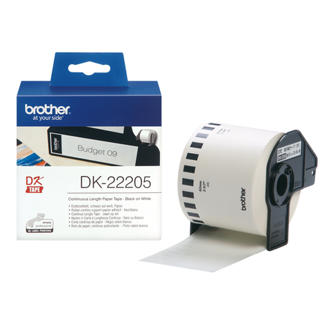 Brother DK-22205 62mm x 30.48m Continuous Length Paper Label Roll (Black On White)