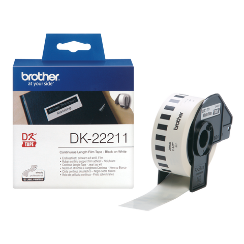 Brother DK-22211 29mm x 15.24m Continuous Length Film Label Roll (Black On White)