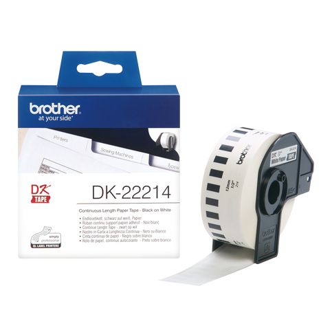 Brother DK-22214 12mm x 30.48m Continuous Length Paper Label Roll (Black On White)